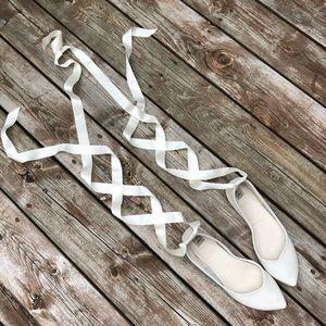 Size 8 Ballet Flats White Wedding Shoes